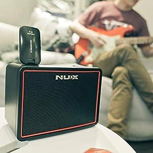 Asmuse NUX Amplificatori Portatili per Chitarra Basso Elettrica Mini Amplificatore Bluetooth di Effetti Gain/Delay/Reverb Drum Machine 3.5mm e input Phone e un APP 10W