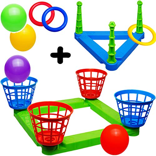 alles-meine.de GmbH XL Wurfspiel - Ballwurfspiel & Ringwurfspiel - UMBAUBAR + ERWEITERBAR - aus Kunststoff / Plastik - Wurfkreuz - incl. Bälle + Ringe + Fangkörbe - Innen & Außen..