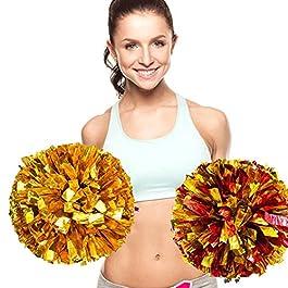 ANGTUO 2 PCS sport di squadra Cheerleading Pom Poms Pom Partita di plastica dell'anello del partito di gallina spogliatoio