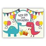Super coole Geburtstagskarte mit Dinosauriern in Party Stimmung und mit Luftballons: Alles Gute zum Geburtstag