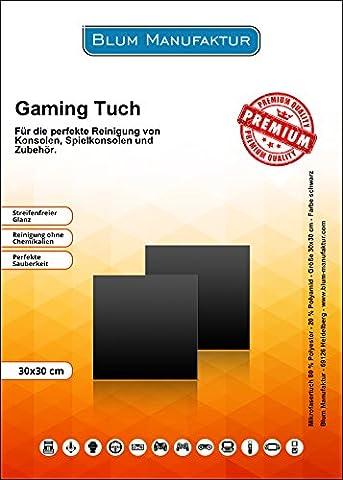 Blum - 2x Gaming Tuch 30x30 cm schwarz - Für die perfekte Reinigung von Konsolen, Spielkonsolen, Videospiele, Flipper, Spielautomaten und Zubehör - Controller | Gamepad | Nunchuk | X One S | PS3 | PS4 | Racing Wheel | Smartphone | NS Switch | Tablet | VR Brille und vieles (Super-racing Seat)
