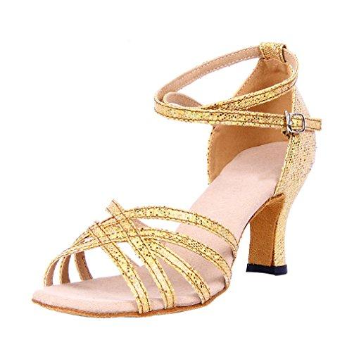 Dayiss Elegant Damen Latein Schuhe Tanzschuhe mit Absatz - Standard & Latein Gold