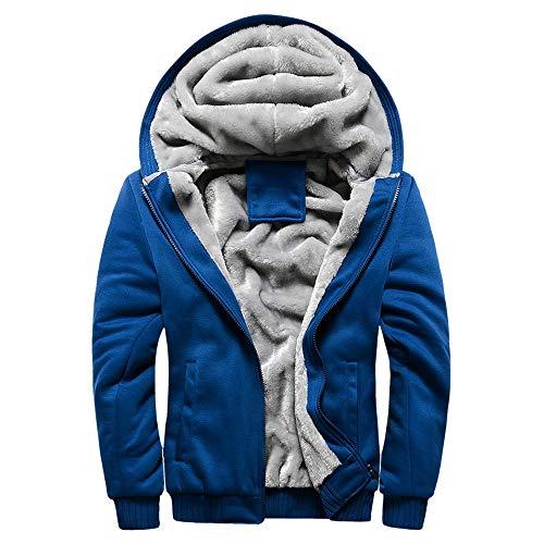 Abrigo de Chaqueta de suéter,JiaMeng Hombre Sudadera con Capucha Winter Warm Fleece Zipper de Invierno Geographical (Azul,M)