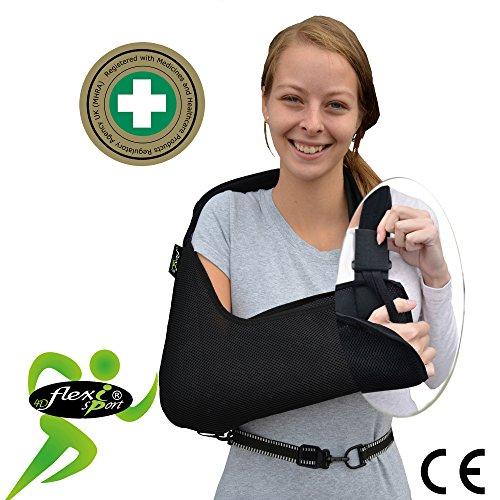 Cabestrillo brazo/hombro ajustable. SÚPER CONFORTABLE. ANTI-SUDOR, HIPOALERGÉNICA (sin neopreno/látex), respeta las píelas más delicadas. 4DflexiSPORT (Negro, M)