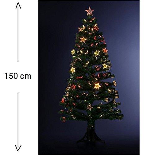DECORACIÓN NAVIDAD - Arbol de Navidad artificial de fibra óptica + 24 estrellas luminosas - Entregado con su pie - Alto 150 cm - Color VERDE