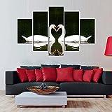 YESURPRISE Impresión En Lienzo Nuevo Para Pared Decoración Para Hogar Sala Cocina Dormitorio Cisne Simétrico de Amor Romántico (sin marco o bastidor)