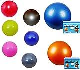 Gymnastikball, inklusive Pumpe, Fitnessball, Sitzball, in 65 cm, 75cm, 85cm in 8 Farben, blau, pink, silber, schwarz, orange, rot, grün, Maximalbelastbarkeit bis 300kg, Anti Burst Material