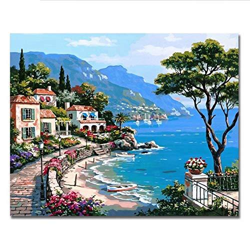 Waofe Digitale Landschaftsbilder Nach Zahlen Zeichnung Hafen Leinwand Kunst Diy Handgemalte Farbton Wand Kit Für Wohnzimmer Geschenk, 40X50 Cm, Mit Rahmen -