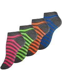 8 Paar VCA® Damen Sneaker Socken mit bunten Ringeln