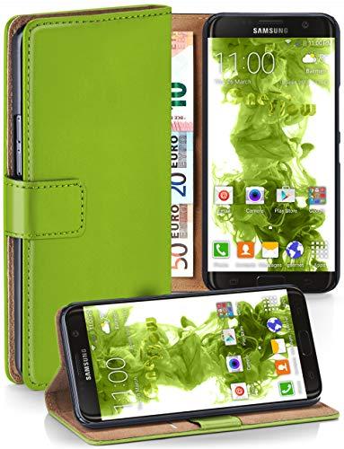 moex® Booklet mit Flip Funktion [360 Grad Voll-Schutz] für Samsung Galaxy S7 Edge | Geldfach und Kartenfach + Stand-Funktion und Magnet-Verschluss, Grün