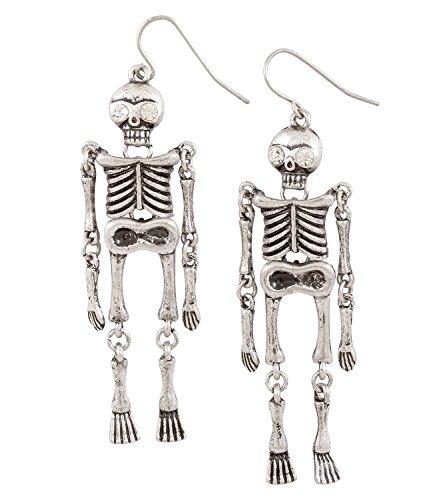 SIX Ohrringe: Creepy Ohrhänger mit Skelett und weißen -