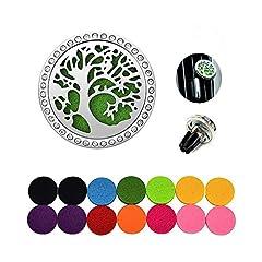 Idea Regalo - JRing aromaterapia deodorante per auto diffusore in acciaio INOX, deodorante per auto diffusore di oli essenziali naturali d' aria aromaterapia 14feltrini lavabile (colore casuale)