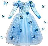 Kosplay Mädchen Prinzessin Kostüm Eiskönigin Kleid für Mädchen Schmetterling Karneval Verkleidung Party Cosplay Faschingskostüm Festkleid Weinachten Halloween Fest Kleid, Farbe: Style 2, Gr. 140