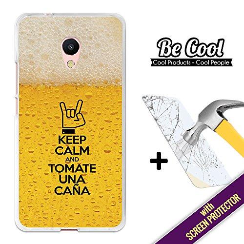 BeCool Custodia Cover [ Flessibile in Gel ] per Meizu M5s [ +1 Pellicola Protettiva Vetro ] Ultra Sottile Silicone,protegge e si adatta alla perfezione al tuo Smartphone. Keep Calm Birra.