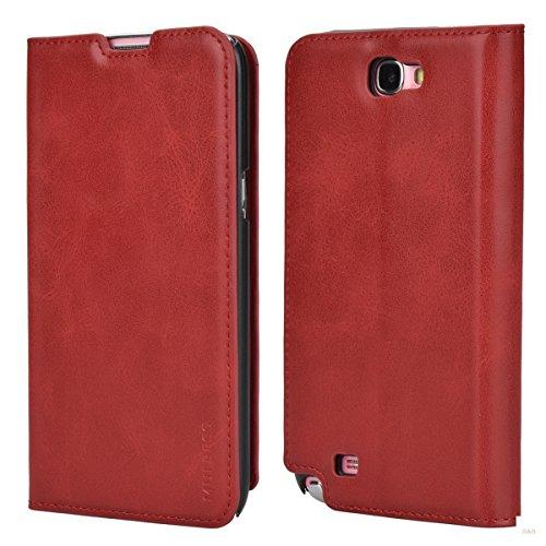 Custodia Samsung Galaxy Note 2, Mulbess Slim Style Flip Caso Pelle Premium Portafoglio Custodia per Samsung Galaxy Note 2 Cover,Rosso