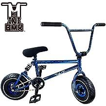 Mini BMX Freestyle bicicleta–luz con manivela de–Juego de 3neumáticos de grasa y la primavera de accesorios para Pro para principiantes–Estos Bad Boy bicicletas son ideal para STUNT truco & Racing (azul Splash) por Ride 858
