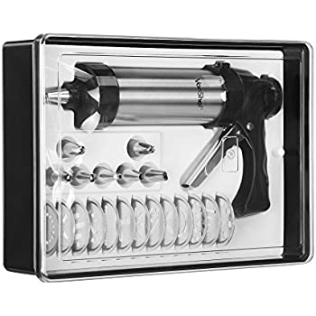 VonShef Stainless Steel Cookie Biscuit Press & Cake Icing Decorating Set with Icing Gun