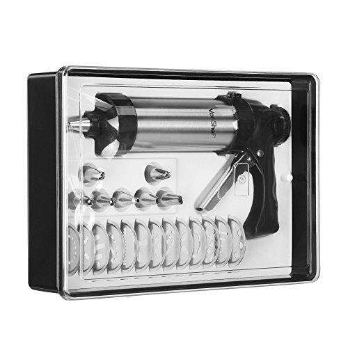 VonShef Set Pâtisserie – Pistolet 8 douilles + 13 disques de décoration