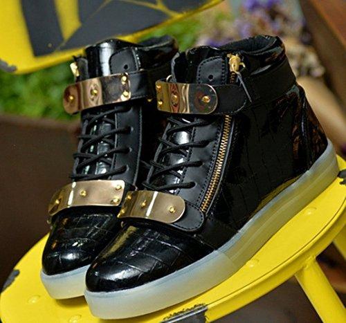 Sneaker kleines 7 Schuhe Led Farbe Freizeitschuhe Usb Sportschuhe Mode Wechseln Handtuch Fü junglest® Laufschuhe Schwarz licht present Outdoorschuhe Aufladen Leuchtend qdnTCT