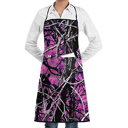 Pink Camo Bib (deyhfef Muddy Girl Camo Pink Athletic Bib Apron Chef Apron with Pockets for Male and Female)