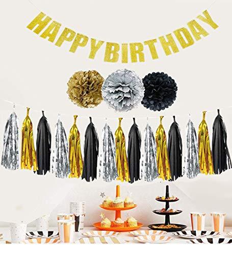 Vollkommenes Schwarzes, Goldenes u. Silbernes Dekorations-Zubehör Set für Geburtstags-Partys von Belle Vous - 15,2cm Pom-Poms, Quasten-Girlande u. Glitzernde Happy-Birthday Banner - Großes Deko Set (Silberne Pom Poms)
