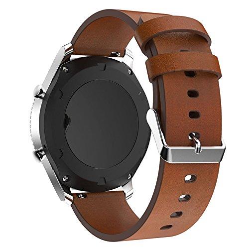 22mm Bracelet de Montre Rechange en Cuir Véritable pour Gear S3Frontier/Gear S3Classic Smart Watch