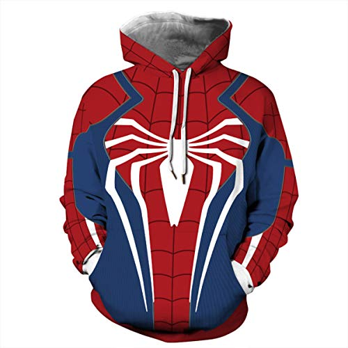 Leezeshaw Unisex 3D Spider-Man Far from Home Print Hoodies Kapuzenpullover Spider Man Superhelden Gemustert Cosplay Kostüm Pullover mit Taschen S-5XL Gr. X-Large, Spider Man01