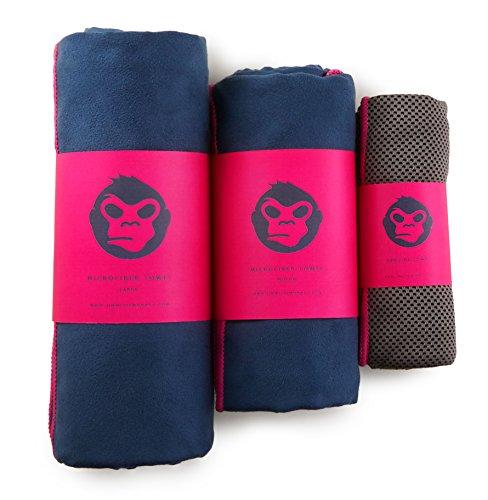 Jimmi the Monkey Mikrofaser-Handtuch 3er-Set: Large, Medium + Cooling Towel (Pink)