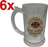 BACARDI OAKHEART Humpen / Bierglas / Glas-Krug / Bierkrug 35cl (6x, Flaschenöffner LKW)