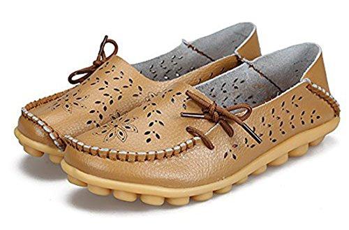 Auspicious beginning Mocassins évidements Creux Mocassins Décontractés Chaussures Bateau Pour les Femmes Marron