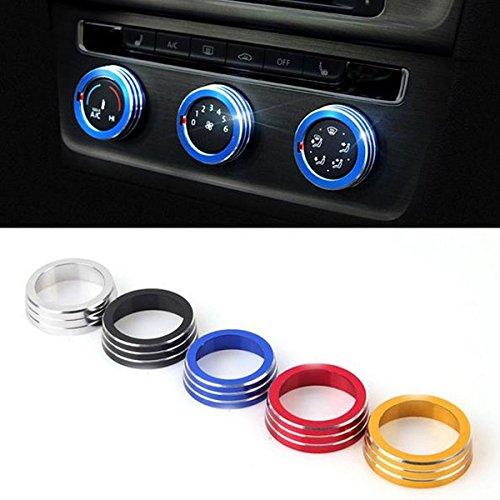 Preisvergleich Produktbild Alamor 3Pcs / Set Cars Alu Dekoration Stereo Knopf Ring Klimaanlage Knopf Ring For Golf 7-Rot