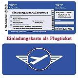 Einladungskarten Motiv: Flugticket zum Geburtstag 30 40 50 Einladung als Boarding Pass Ticket mit Abriss (inkl. mit Ihren Daten und Texten)