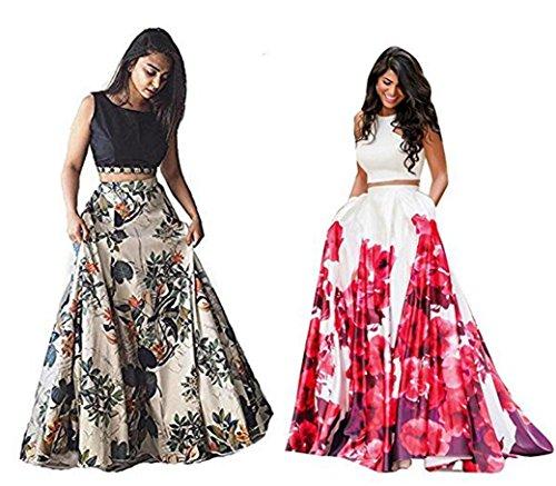 Floral trendz White Black and Pink Combo Banglory satin lehenga choli party...