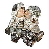 Formano Deko-Figur Kinderpaar aus Kunststein, 20 cm, Creme-braun