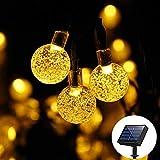 Guirnalda Luces Solares 6m 30 LED, Sevjoy Luces de cuerda para Fiestas,Boda,Navidad,Jardín,Terraza y al Aire Libre Modos de Luz, Decoración de fiestas(Blanco cálido/Multi color) (Blanco cálido)