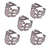 Pandahall 5 x Componenti Anello Basi Anello in Ottone Filigrana, Anello Regolabile, Senza Piombo, Colore Nero, Circa 17mm di Diametro Interno; Vassoio: 8mm di Diametro