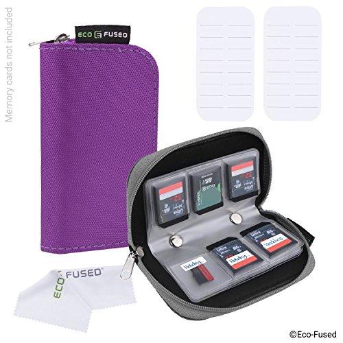 Speicherkarten-Tasche - 2 Stück - Passend für bis zu 22x SD, SDHC, Micro SD, Mini SD und 4x CF - Halterung mit 22 Schlitzen (8 Seiten) - Zur Aufbewahrung und für unterwegs - Mikrofaser-Reinigungstuch und Etiketten enthalten - Grau + Lila (Mp3-player Lila Sony)