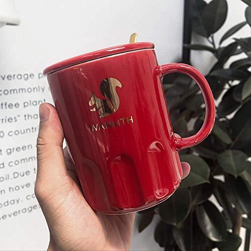 KYSM Animal Keramiktasse Kreative Wassertasse Business Office Tee Kaffeetasse 375ML Rot - Eichhörnchen
