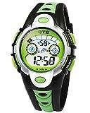 OTS Unisex Kinderuhr Student Uhr Größes Zifferblatt Armbanduhr Gummi Band 3D Armbanduhr für Jungen Mädchen Kinder-Grün