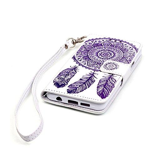 Etui Samsung A3 (2016) , Anfire Attrape Reve et Henna Mandala Sun Lace Tribal Vintage Motif Peint Mode PU Cuir Étui Coque pour Samsung Galaxy A3 (2016) SM - A310F (4.7 pouces) Housse de Protection Lux Blanc