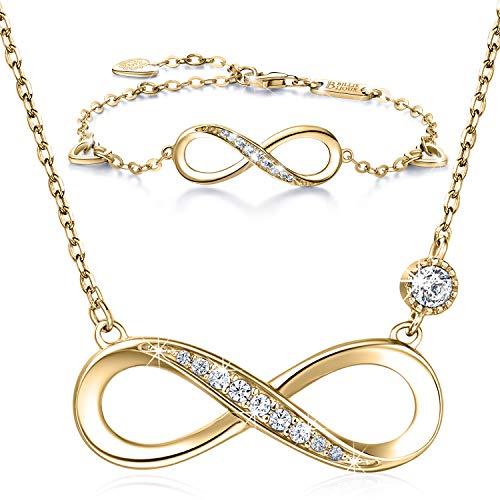 Billie Bijoux Infinity Unendlichkeit Symbol Damen Armband Halskette 925 Sterling Silber Zirkonia Armkette Verstellbar Armband Halsketten Schmuck-Set (C-Gold) (Armband Und Gold-halskette)