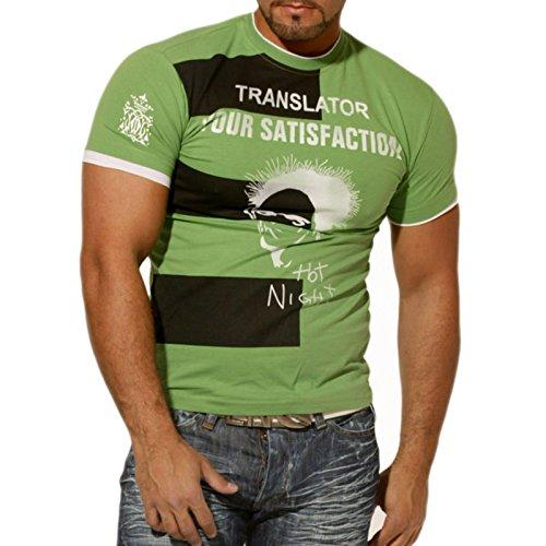 Herren T-Shirt Kurzarm Rundhals Printed Hot Night RN953 Grün