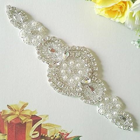 ShinybeautyRhinestone applique, Bridal Sash Applique, crystal Pearl Sash applique, diamante applique, wedding applique, Bridal Applique, wedding belt RA001 (Navy