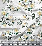 Soimoi Weiß Samt Stoff Blätter & Magnolie Blumen- Stoff