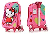 Di Grazia Hello Kitty Hardshell Travel School Bag and Trolley Luggage Suitcase Bag, 6 Wheels School Bag For Kids