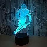 MAFYU 3D Illusion LED Nacht Lampe Rugby-Spieler 7 Farben Kreative Lampe Atmosphäre zu Hause Dekoration Touch + Fernbedienung
