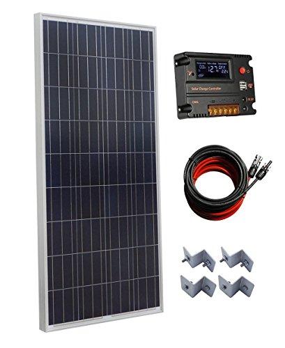 ECO-WORTHY 160 W Polykristalline Off Grid Akku laden Solar Power Kit: 1pc 160 W Poly Solar Panel + 20 A Auto Switch LCD intelligente Regler Laderegler + 16 FT Solar Kabel + Z Montagehalterung