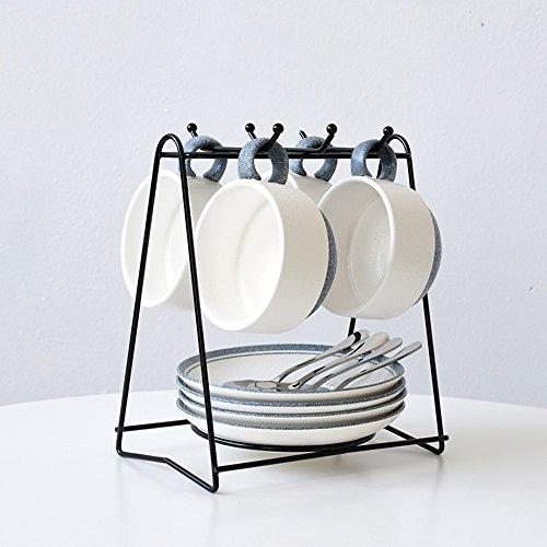 Tasse de café / Coupe de café en céramique créative / 4 disques Coupe de café de 4 tasses / Café cadeau simple (2 couleurs en option) ( couleur : A )