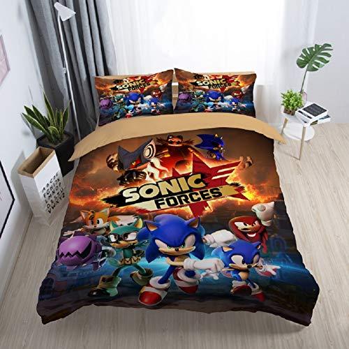 Jnsio 3 Teiliges Bettwäsche Sets Sonic The Hedgehog Bettdecke Set Sonic The Hedgehog Bettbezug Sets Mikrofaser Baumwolle Bequem Weich Cartoon Anime Bettbezug Und 2 Kissenbezug,230x260cm -