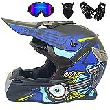 M-TK Motocross Helm Off Road Motorradhelm ATV Cross DOT Helme Motorrad Crossbike Enduro Sport mit Handschuhen Sturmmaske und Brille 58-59CM (6 Style),Aadvanced,XL